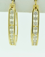 Round Brilliant-cut Diamond J-Hoop Earrings in 14k White Gold