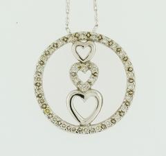 Diamond Eternity Pendant, Set in 14k White Gold