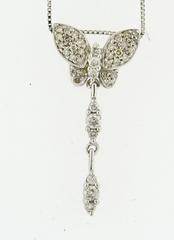Diamond Butterfly Pendant, Set in 14k White Gold
