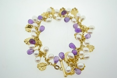 Amethyst and Pearl 14k Yellow Gold Bracelet
