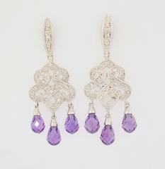 Amethyst and Diamond Dangle Earrings in 10k White Gold