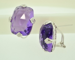 Amethyst Earrings with Diamond Accents in 14k White Gold