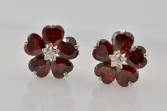 Heart-cut Garnet with Accent Diamond Earrings in 14k White Gold