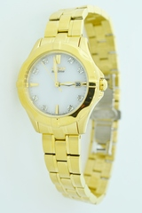 Gold Tone Stainless Steel Citizen Eco-Drive Watch with Diamond Hour Stamps