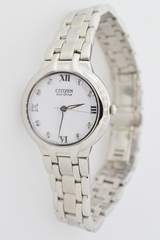 Stainless Steel Citizen Eco-Drive Watch with Diamond Hour Stamps