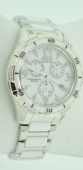 Stainless Steel and Ceramic Citizen Eco-Drive Watch with Accent Diamonds