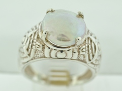 Sterling Silver White Button Pearl Ring
