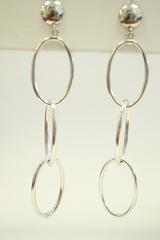 Sterling Silver Dangle Earrings with 3 Oval Hoops