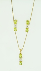 Vermeil Peridot Pendant and Earring Set with Accent Diamond