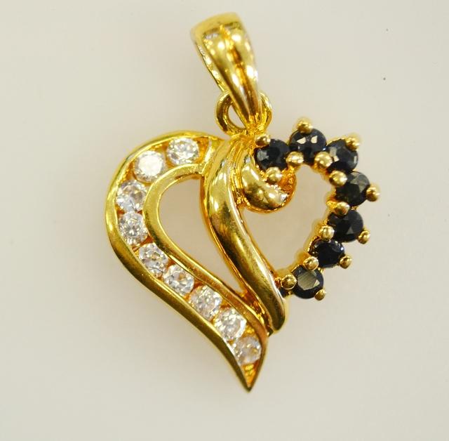 Vermeil Sapphire Heart Pendant with Cubic Zirconia