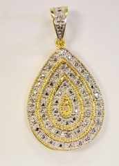 Two Tone Sterling Silver Vermeil Pendant with 4 Diamond Accents