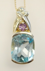 Sterling Silver Blue Topaz Pendant with Round Amethyst