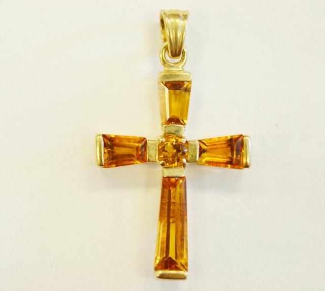 Citrine cross pendant in 10k yellow gold jewelry gallery colored citrine cross pendant in 10k yellow gold aloadofball Gallery