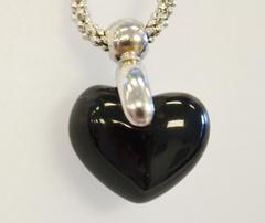 Heart Onyx Pendant on 14k White Gold Bail