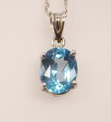 Blue Topaz Solitaire Pendant in 14k White Gold