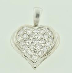 Heart Diamond Pendant, Set in 18k White Gold