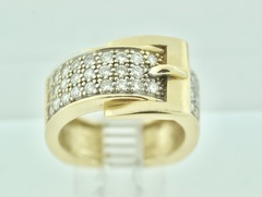 Belt Buckle Style Diamond Ring in 14k Yellow Gold