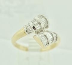 Diamond Baguette Crossover Ring in 14k Two Tone Gold