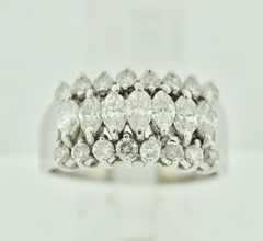 Marquise and Round Wide Diamond Ring in 14k White Gold