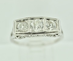 Beautiful Platinum Diamond Engagement Ring with Filigree and Milgrain finish