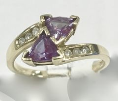 Lab Alexandrite and Diamond Cross-Over Ring in 10k Yellow Gold