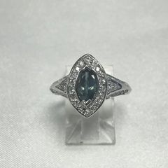 Natural Marquise Alexandrite and Diamond Ring in 10k White Gold