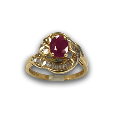 Crossover Ruby and Diamond Ring, in 14k Yellow Gold