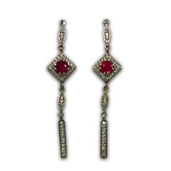 Ruby and Diamond Dangle Earrings in 14k White Gold