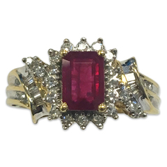 Ruby Ring with Round and Baguette Diamonds in 14k Yellow Gold