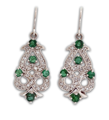 Emerald and Diamond Earrings, in 14k White Gold