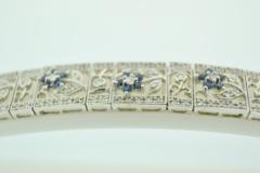 Blue Sapphire and Diamond Bracelet, in 14k White Gold