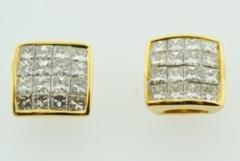 2ct tw Princess-cut Invisible Diamond Studs
