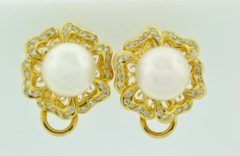 Pearl and Diamond Earrings, in 18k Yellow Gold