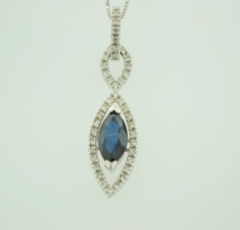 Sapphire and Diamond Pendand, Set in 14k White Gold