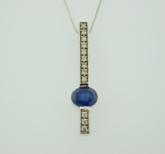 Oval Sapphire and Diamond Pendant, Set in 14k White Gold