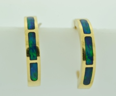 Lab Opal Inlay Hoop Earrings in 14k Yellow Gold