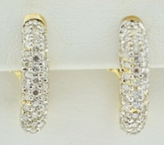 2.05ct tw Pavé Diamond Hoops in 14k Two Tone Gold