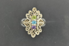 3-Stone Peridot, Blue Topaz, Amethyst Ring, Set in Sterling Silver