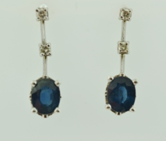Blue Sapphires and Diamond Earrings, in 14k White Gold