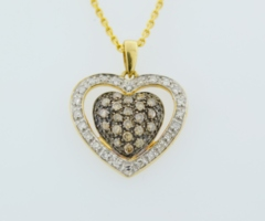 Chocolate and White Diamond Heart Pendant, Set in 14k Yellow gold