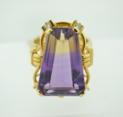 Ametrine Ring with Diamond Accents in 14k Yellow Gold