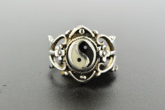 Ying-Yang Enamel Ring, in Sterling Silver