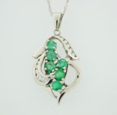 Emerald and Diamond Pendant, Set in 14k White Gold