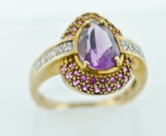 Amethyst and Ruby Ring, wRound Brilliant Diamonds Set in 14k Yellow Gold