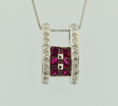 Ruby and Diamond Pendant, Set in 18k White Gold