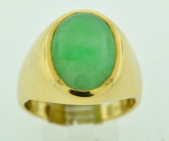 Genuine Jade Yellow Gold Ring