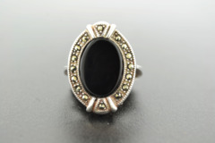 Black Onyx Ring, Set in Sterling Silver