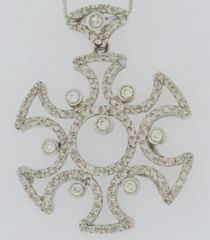 Diamond Silder Pendant, Set in 14k White Gold