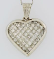 Diamond Hear Pendant, Set in 14k White Gold