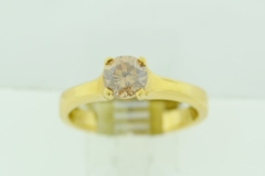 Natural Cinnamon Diamond Ring, in 18k Yellow Gold